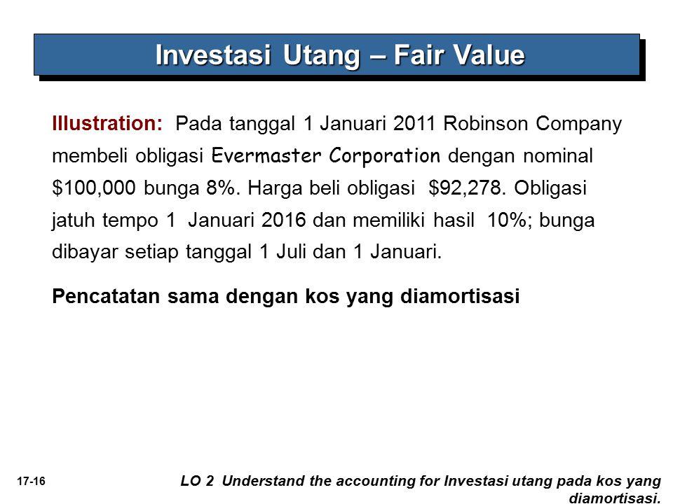17-16 Illustration: Pada tanggal 1 Januari 2011 Robinson Company membeli obligasi Evermaster Corporation dengan nominal $100,000 bunga 8%. Harga beli