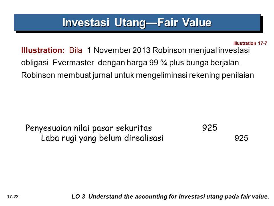17-22 Illustration: Bila 1 November 2013 Robinson menjual investasi obligasi Evermaster dengan harga 99 ¾ plus bunga berjalan. Robinson membuat jurnal