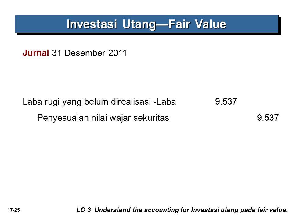 17-25 Jurnal 31 Desember 2011 Laba rugi yang belum direalisasi -Laba 9,537 Penyesuaian nilai wajar sekuritas 9,537 Investasi Utang—Fair Value LO 3 Und