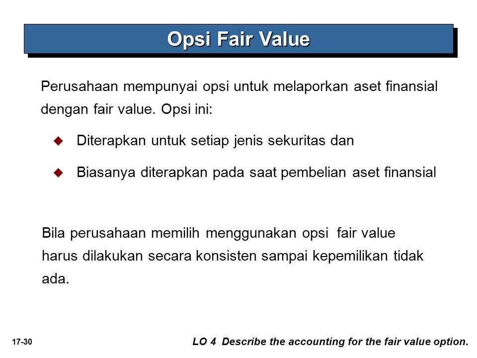 17-30 Perusahaan mempunyai opsi untuk melaporkan aset finansial dengan fair value. Opsi ini:   Diterapkan untuk setiap jenis sekuritas dan   Biasa