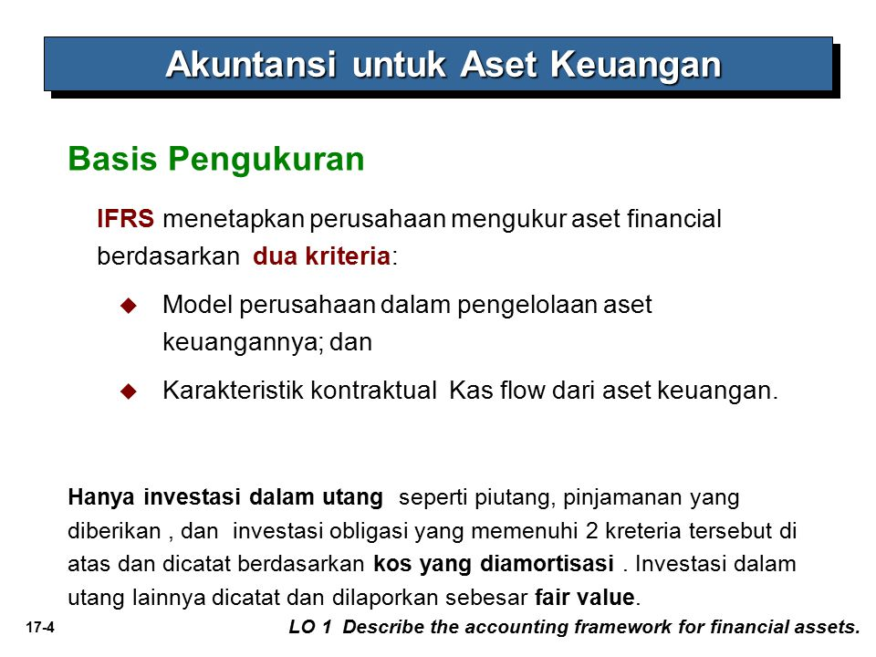 17-4 Basis Pengukuran LO 1 Describe the accounting framework for financial assets.