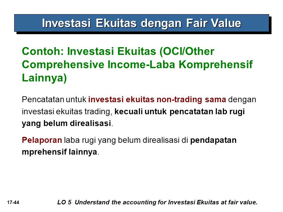 17-44 Contoh: Investasi Ekuitas (OCI/Other Comprehensive Income-Laba Komprehensif Lainnya) Investasi Ekuitas dengan Fair Value Pencatatan untuk invest