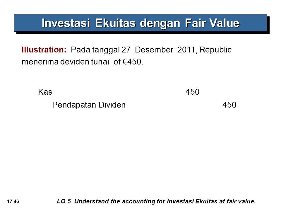 17-46 Investasi Ekuitas dengan Fair Value Illustration: Pada tanggal 27 Desember 2011, Republic menerima deviden tunai of €450. LO 5 Understand the ac