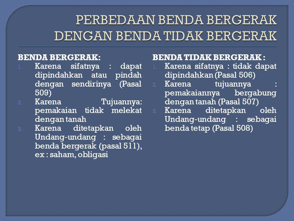 2. SECARA YURIDIS : A.BENDA BERGERAK DAN BENDA TIDAK BERGERAK B. BENDA YANG TERDAFTAR DAN BENDA YANG TIDAK TERDAFTAR