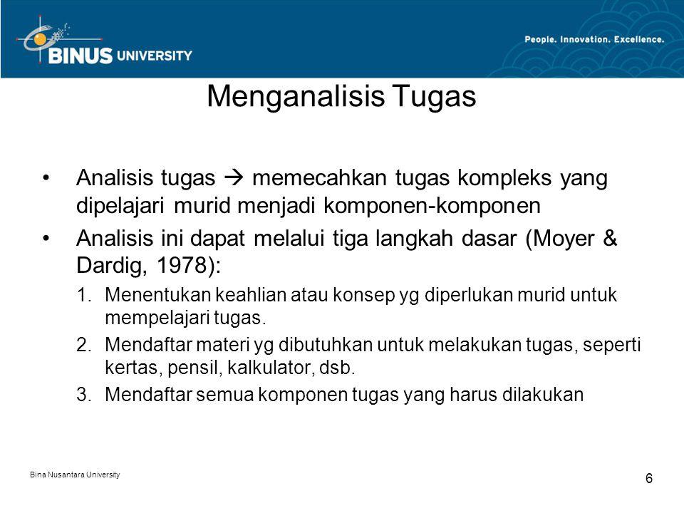 Bina Nusantara University 6 Menganalisis Tugas Analisis tugas  memecahkan tugas kompleks yang dipelajari murid menjadi komponen-komponen Analisis ini