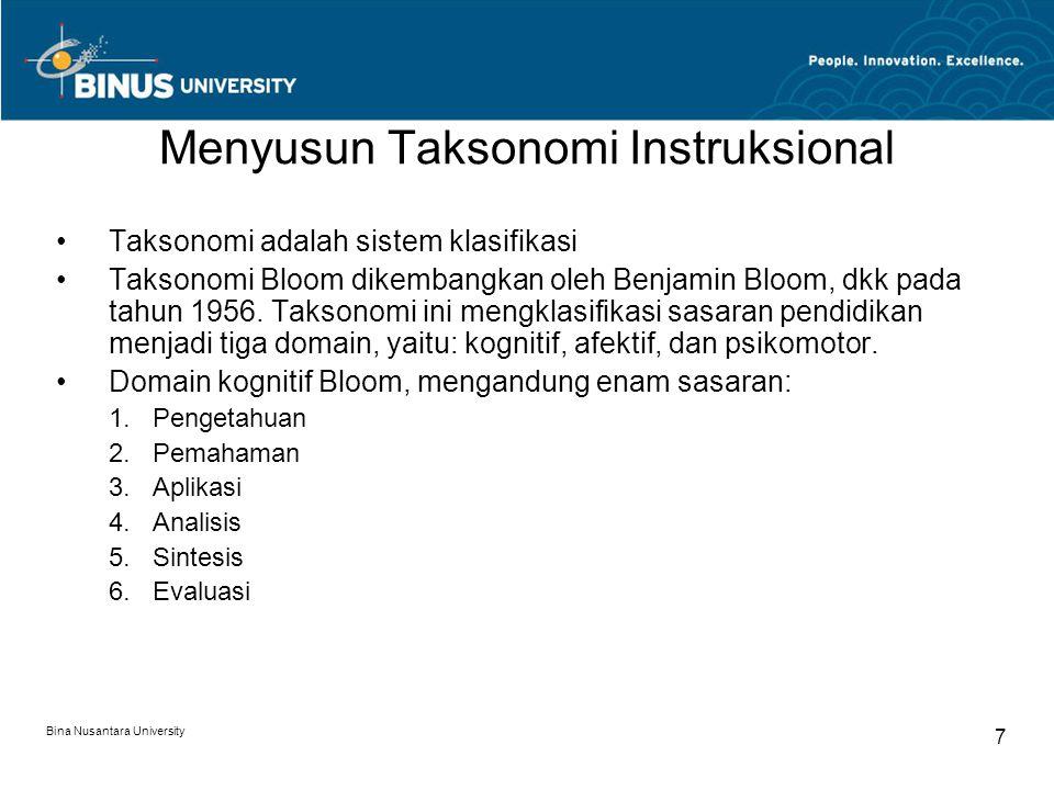 Bina Nusantara University 7 Menyusun Taksonomi Instruksional Taksonomi adalah sistem klasifikasi Taksonomi Bloom dikembangkan oleh Benjamin Bloom, dkk