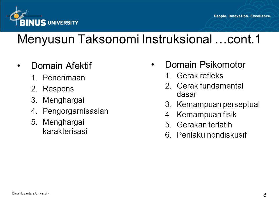 Bina Nusantara University 8 Menyusun Taksonomi Instruksional …cont.1 Domain Afektif 1.Penerimaan 2.Respons 3.Menghargai 4.Pengorgarnisasian 5.Mengharg