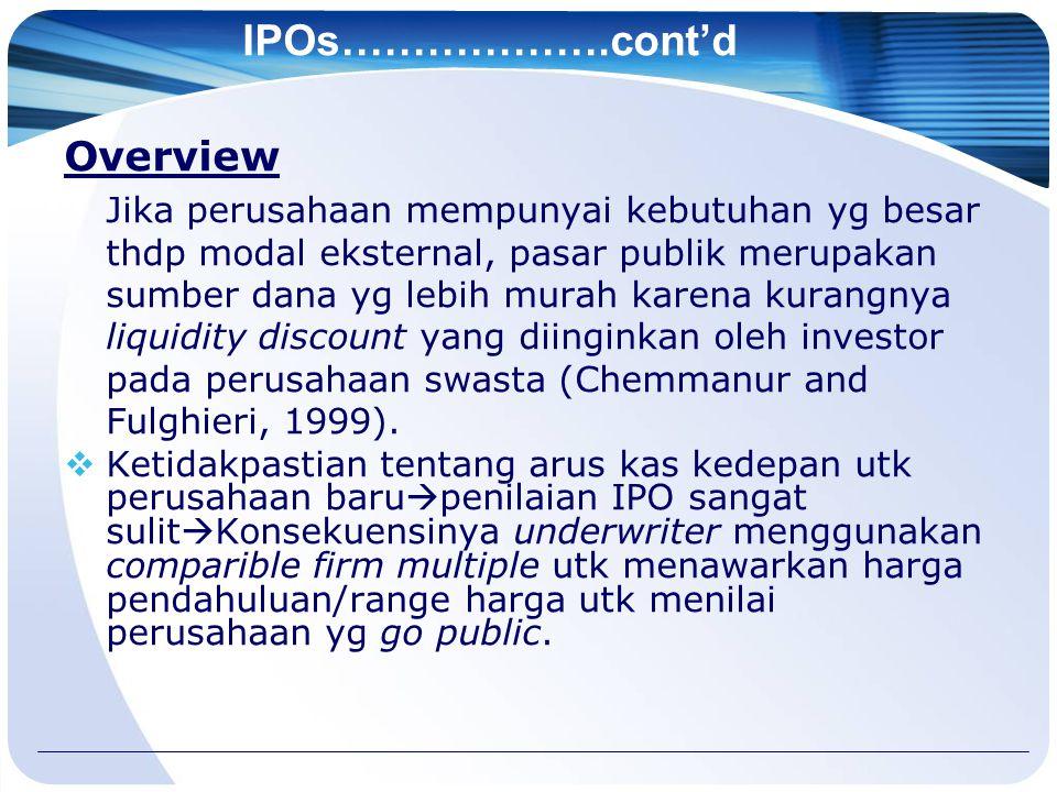 IPOs……………….cont'd Overview Jika perusahaan mempunyai kebutuhan yg besar thdp modal eksternal, pasar publik merupakan sumber dana yg lebih murah karena kurangnya liquidity discount yang diinginkan oleh investor pada perusahaan swasta (Chemmanur and Fulghieri, 1999).