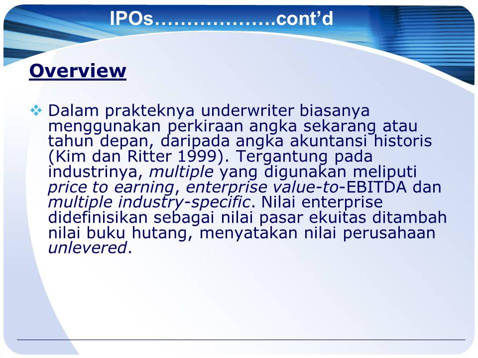 IPOs……………….cont'd Overview  Dalam prakteknya underwriter biasanya menggunakan perkiraan angka sekarang atau tahun depan, daripada angka akuntansi historis (Kim dan Ritter 1999).