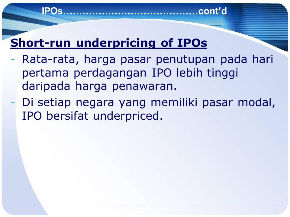 IPOs……………………………………cont'd Short-run underpricing of IPOs -Rata-rata, harga pasar penutupan pada hari pertama perdagangan IPO lebih tinggi daripada harg