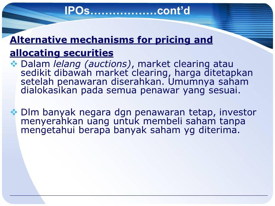 IPOs………………cont'd Alternative mechanisms for pricing and allocating securities  Dalam lelang (auctions), market clearing atau sedikit dibawah market clearing, harga ditetapkan setelah penawaran diserahkan.