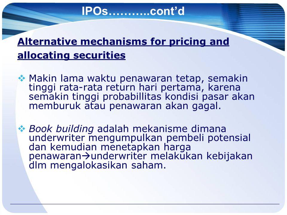 IPOs………..cont'd Alternative mechanisms for pricing and allocating securities  Makin lama waktu penawaran tetap, semakin tinggi rata-rata return hari