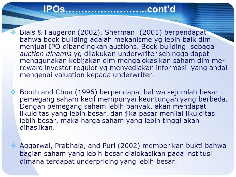 IPOs……………………..cont'd  Biais & Faugeron (2002), Sherman (2001) berpendapat bahwa book building adalah mekanisme yg lebih baik dlm menjual IPO dibandin