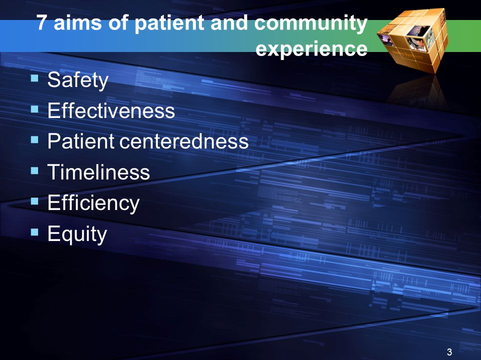 7 aims of patient and community experience  Safety  Effectiveness  Patient centeredness  Timeliness  Efficiency  Equity 3
