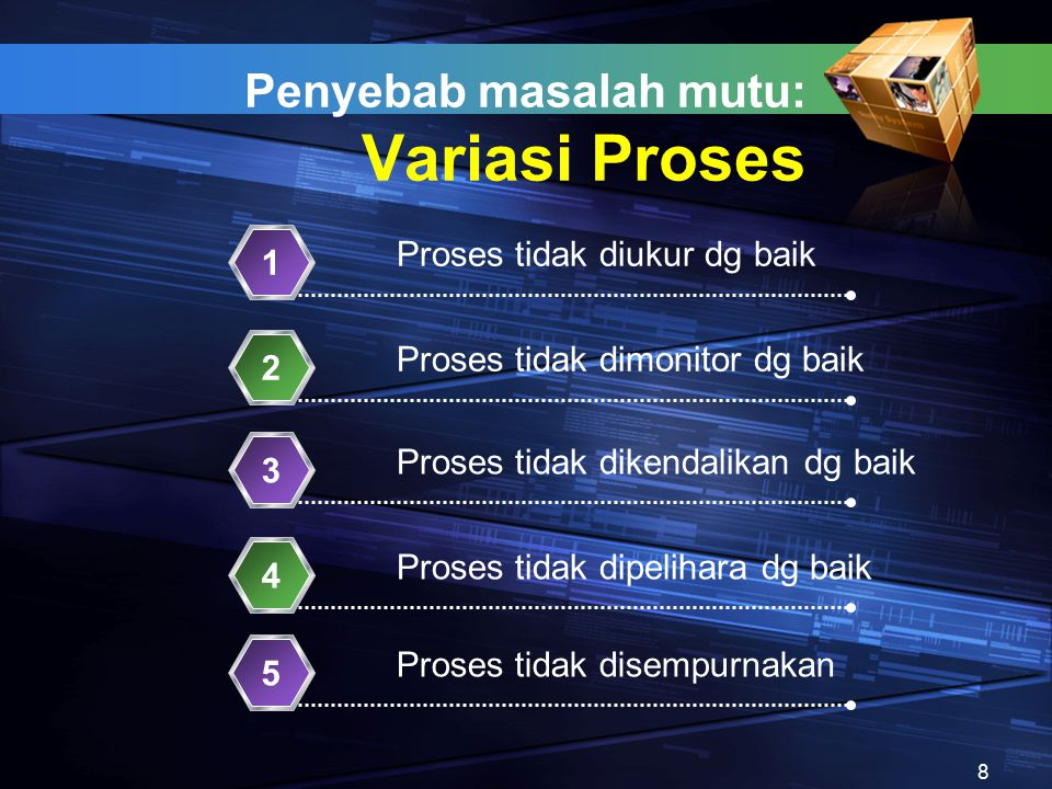 Penyebab masalah mutu: Variasi Proses Proses tidak diukur dg baik 1 Proses tidak dimonitor dg baik 2 Proses tidak dikendalikan dg baik 3 Proses tidak dipelihara dg baik 4 Proses tidak disempurnakan 5 8
