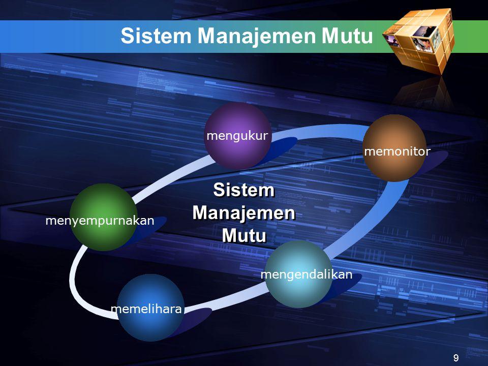 Sistem Manajemen Mutu menyempurnakan mengukur memonitor mengendalikan memelihara Sistem Manajemen Mutu 9