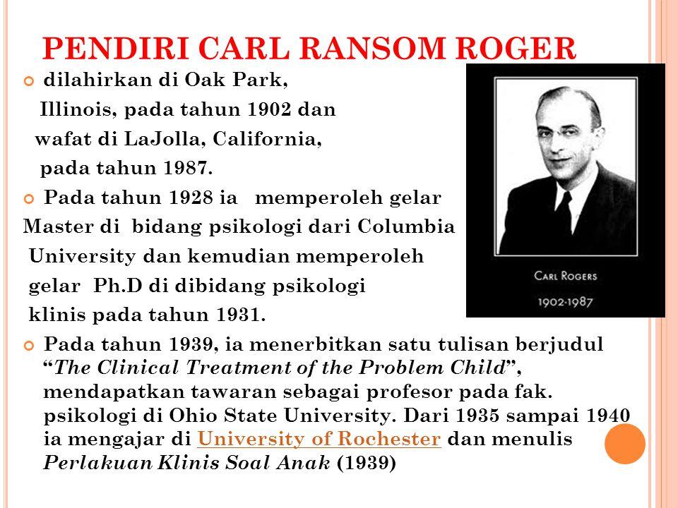 PENDIRI CARL RANSOM ROGER dilahirkan di Oak Park, Illinois, pada tahun 1902 dan wafat di LaJolla, California, pada tahun 1987.