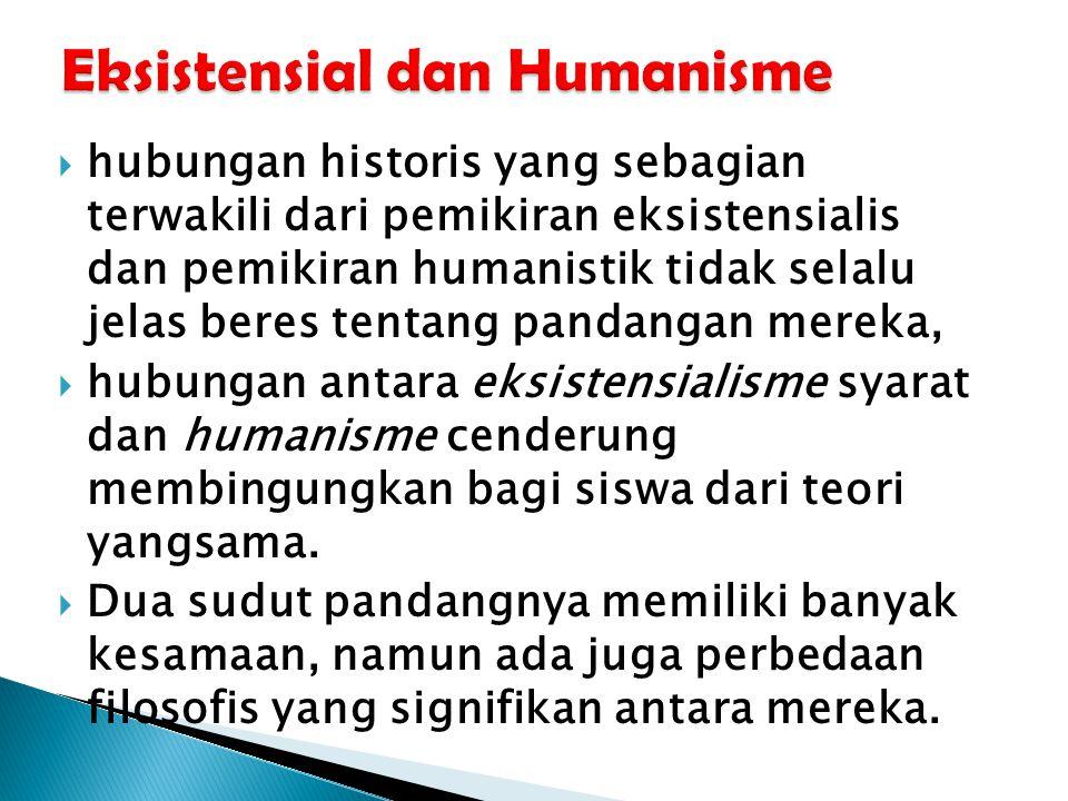  hubungan historis yang sebagian terwakili dari pemikiran eksistensialis dan pemikiran humanistik tidak selalu jelas beres tentang pandangan mereka,  hubungan antara eksistensialisme syarat dan humanisme cenderung membingungkan bagi siswa dari teori yangsama.