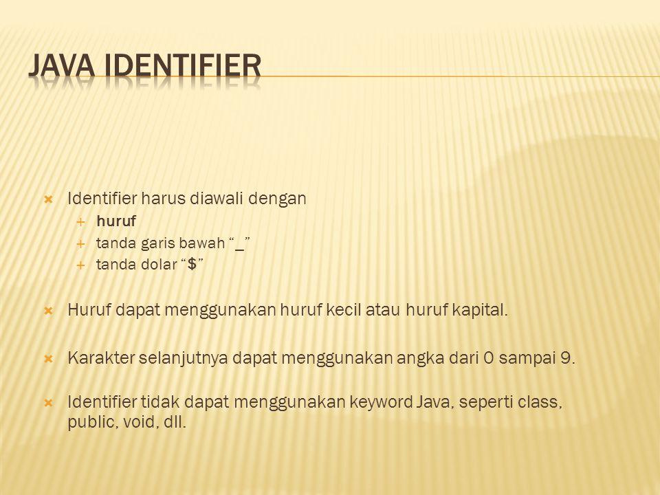 """ Identifier harus diawali dengan  huruf  tanda garis bawah """"_""""  tanda dolar """"$""""  Huruf dapat menggunakan huruf kecil atau huruf kapital.  Karakt"""
