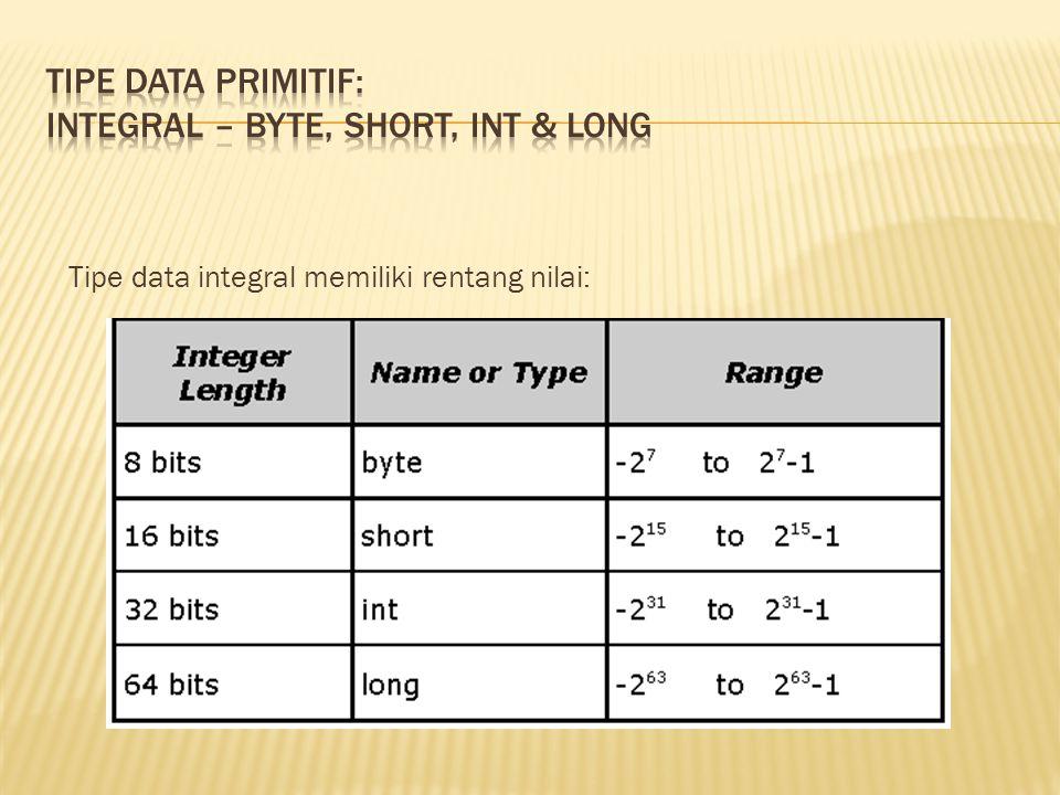 Tipe data integral memiliki rentang nilai: