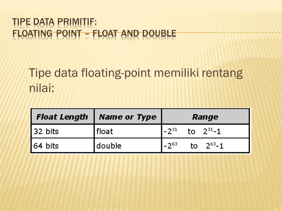 Tipe data floating-point memiliki rentang nilai: