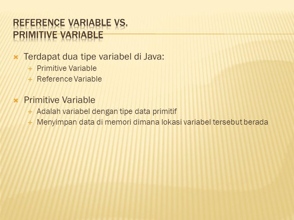  Terdapat dua tipe variabel di Java:  Primitive Variable  Reference Variable  Primitive Variable  Adalah variabel dengan tipe data primitif  Men