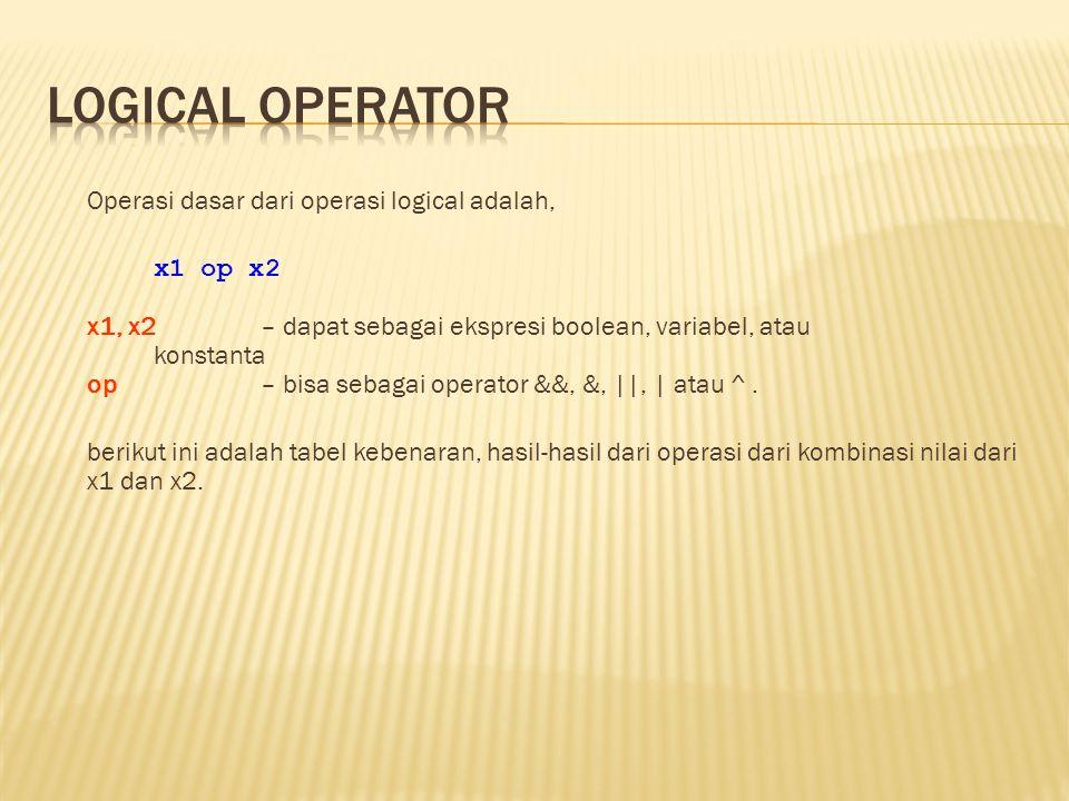Operasi dasar dari operasi logical adalah, x1 op x2 x1, x2 – dapat sebagai ekspresi boolean, variabel, atau konstanta op – bisa sebagai operator &&, &