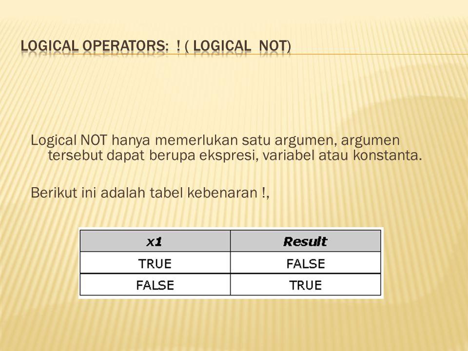 Logical NOT hanya memerlukan satu argumen, argumen tersebut dapat berupa ekspresi, variabel atau konstanta. Berikut ini adalah tabel kebenaran !,