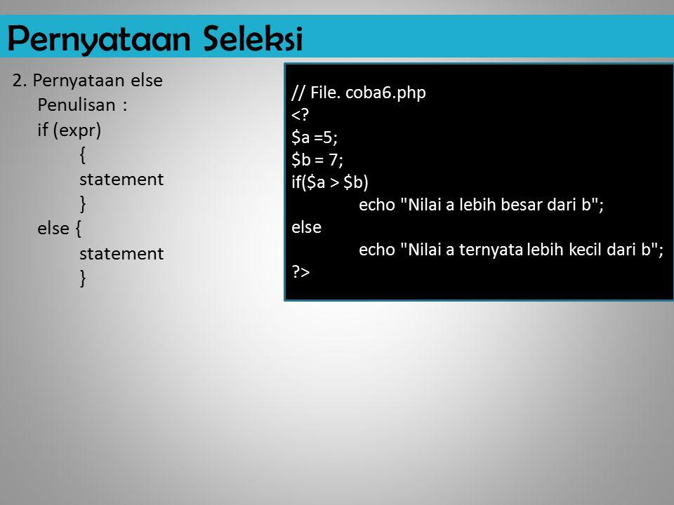Pernyataan Seleksi 2.