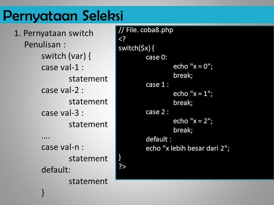 Pernyataan Seleksi 1. Pernyataan switch Penulisan : switch (var) { case val-1 : statement case val-2 : statement case val-3 : statement …. case val-n