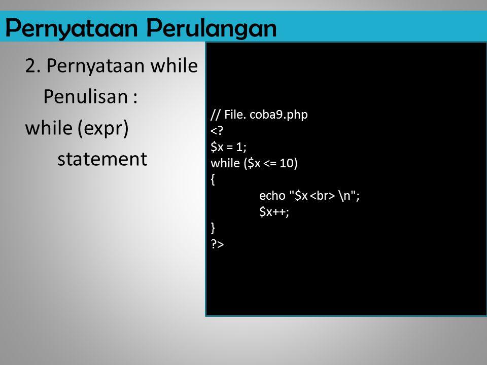 Pernyataan Perulangan 2.Pernyataan while Penulisan : while (expr) statement // File.