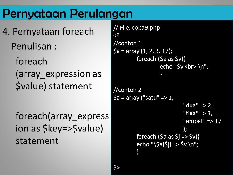 Pernyataan Perulangan 4. Pernyataan foreach Penulisan : foreach (array_expression as $value) statement foreach(array_express ion as $key=>$value) stat