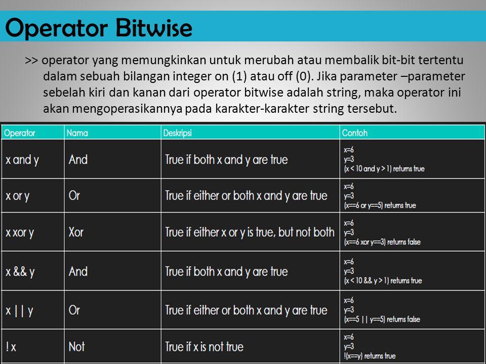 Operator Bitwise >> operator yang memungkinkan untuk merubah atau membalik bit-bit tertentu dalam sebuah bilangan integer on (1) atau off (0).