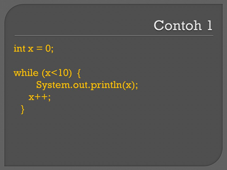 int x = 0; while (x<10) { System.out.println(x); x++; }