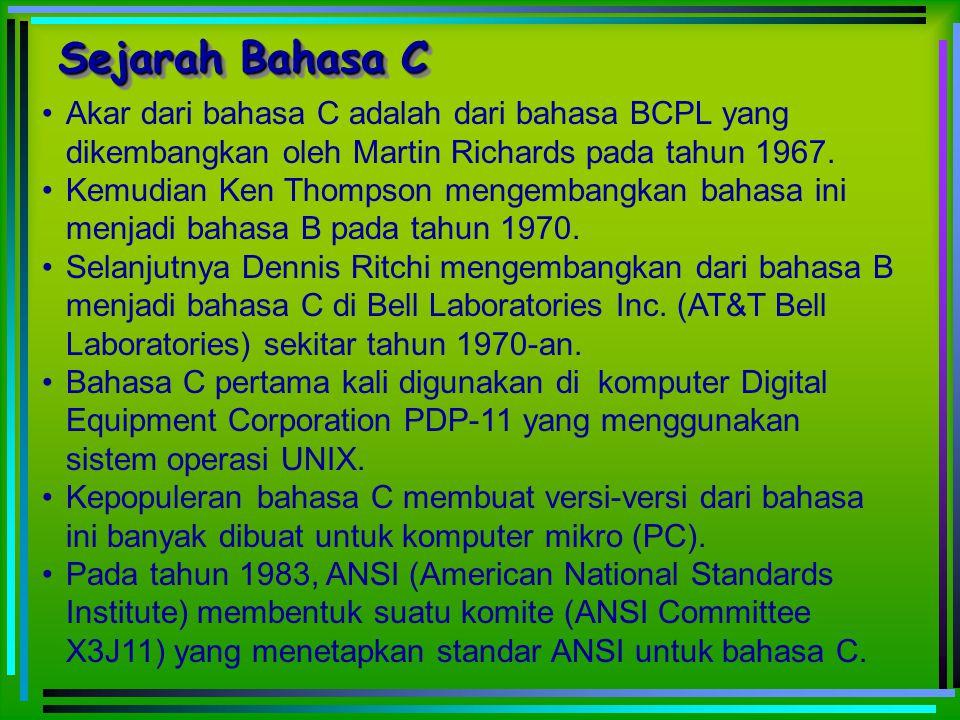 Akar dari bahasa C adalah dari bahasa BCPL yang dikembangkan oleh Martin Richards pada tahun 1967. Kemudian Ken Thompson mengembangkan bahasa ini menj
