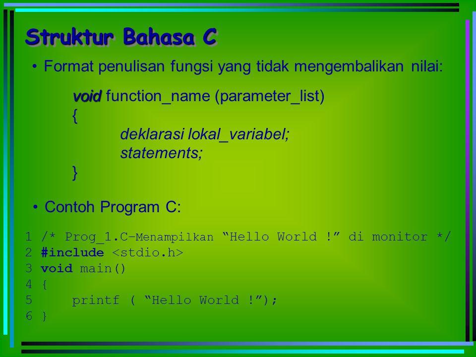 void void function_name (parameter_list) { deklarasi lokal_variabel; statements; } Format penulisan fungsi yang tidak mengembalikan nilai: Struktur Ba