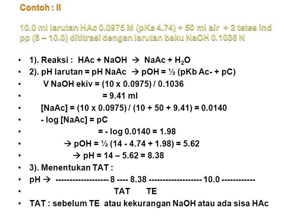 1).Reaksi : HAc + NaOH  NaAc + H 2 O 2).