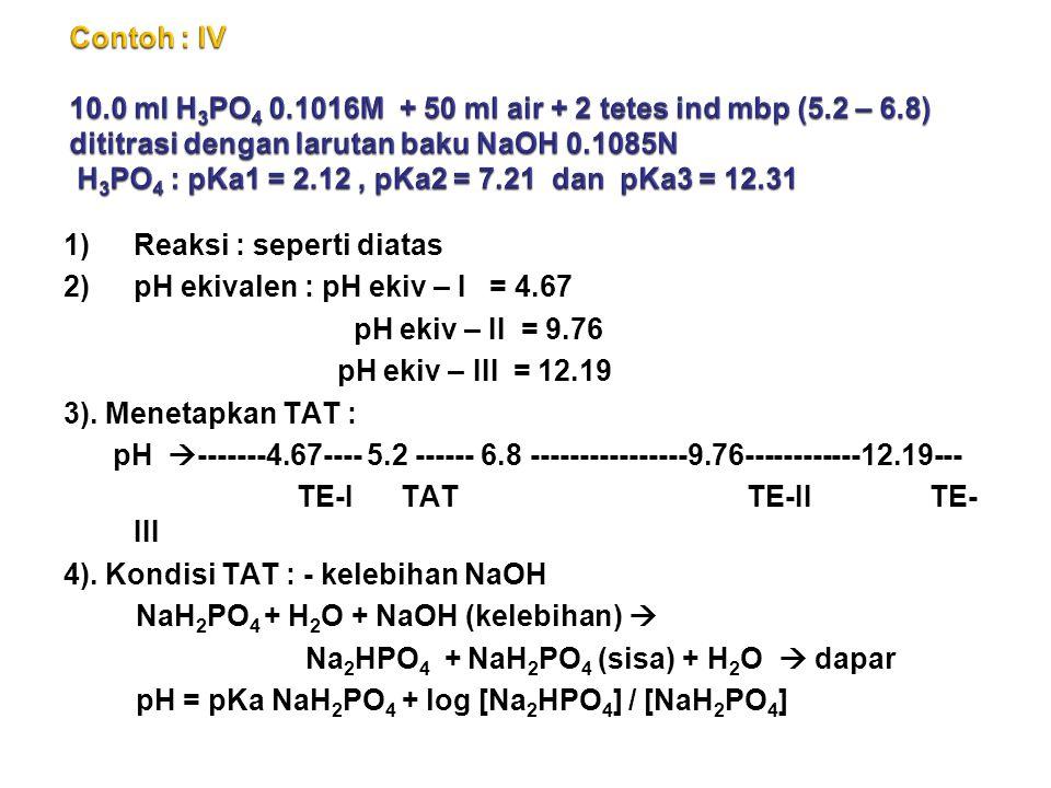 1)Reaksi : seperti diatas 2)pH ekivalen : pH ekiv – I = 4.67 pH ekiv – II = 9.76 pH ekiv – III = 12.19 3).