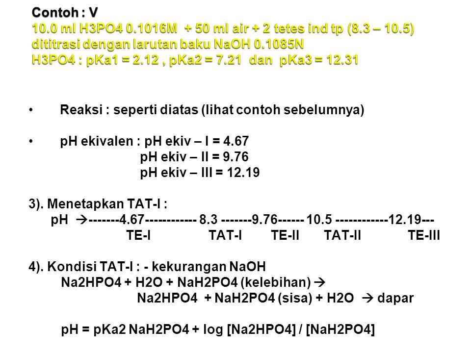 Reaksi : seperti diatas (lihat contoh sebelumnya) pH ekivalen : pH ekiv – I = 4.67 pH ekiv – II = 9.76 pH ekiv – III = 12.19 3).