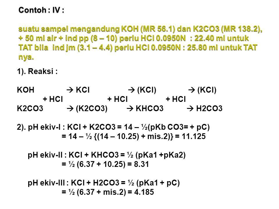1).Reaksi : KOH  KCl  (KCl)  (KCl) + HCl + HCl + HCl K2CO3  (K2CO3)  KHCO3  H2CO3 2).