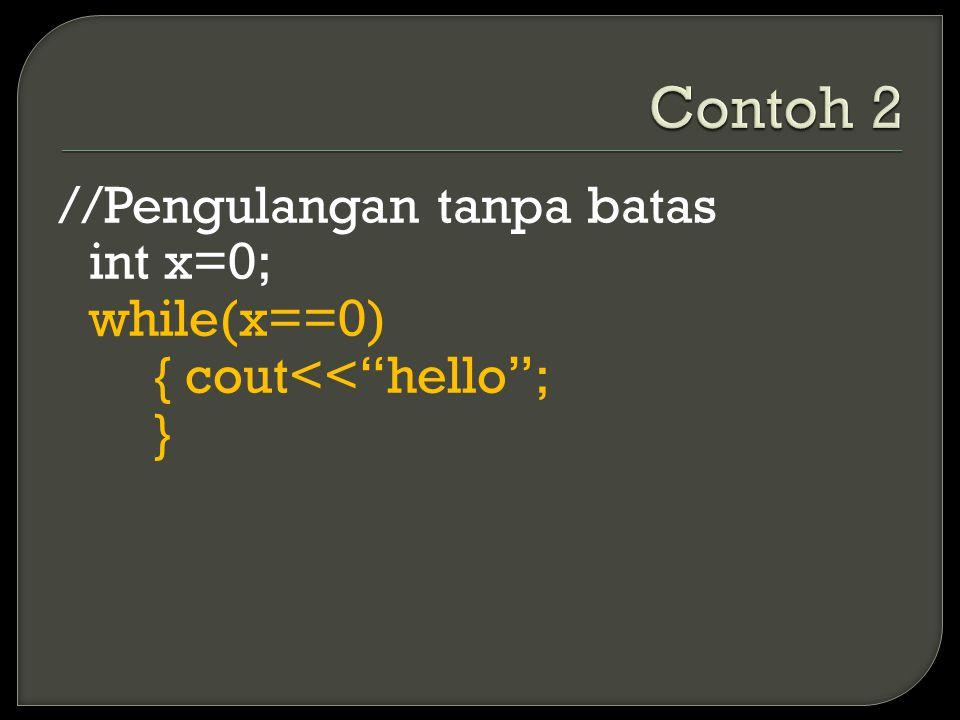 //Pengulangan tanpa batas int x=0; while(x==0) { cout<< hello ; }