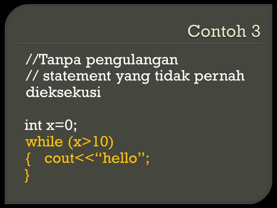 //Tanpa pengulangan // statement yang tidak pernah dieksekusi int x=0; while (x>10) {cout<< hello ; }