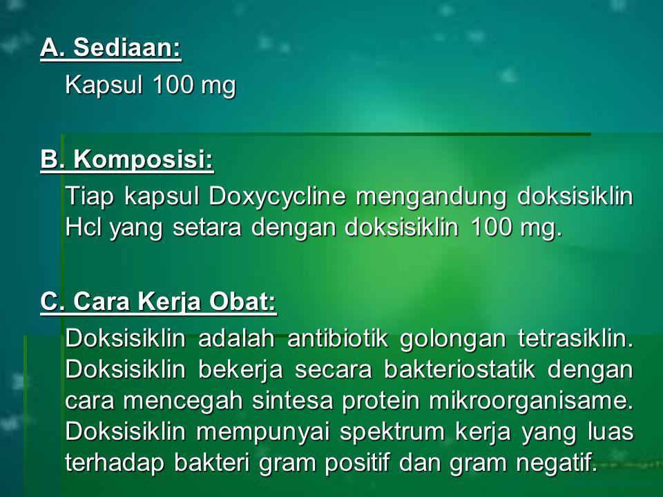 A. Sediaan: Kapsul 100 mg B. Komposisi: Tiap kapsul Doxycycline mengandung doksisiklin Hcl yang setara dengan doksisiklin 100 mg. C. Cara Kerja Obat: