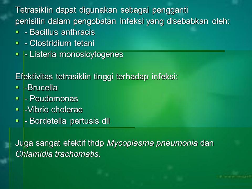 Tetrasiklin dapat digunakan sebagai pengganti penisilin dalam pengobatan infeksi yang disebabkan oleh:  - Bacillus anthracis  - Clostridium tetani 