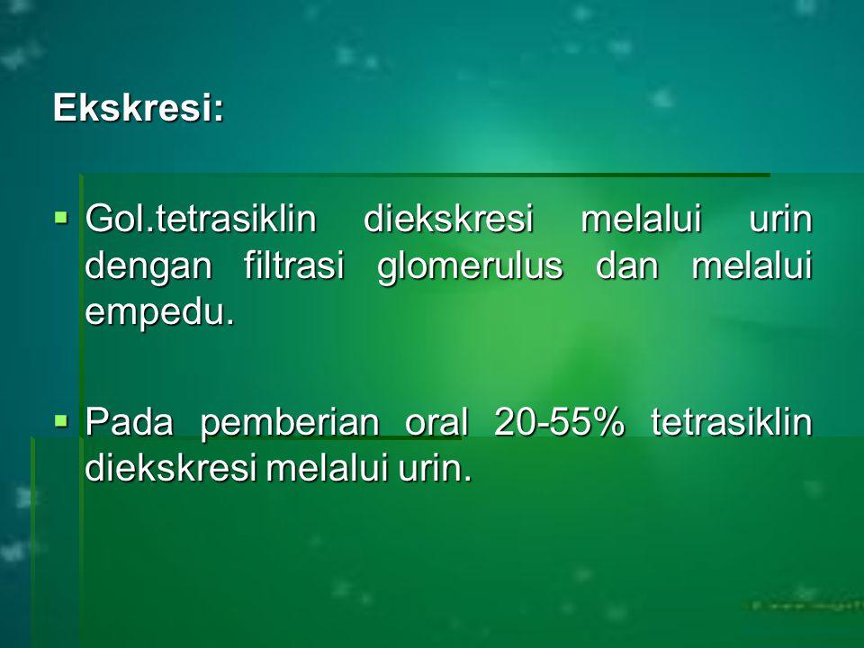 Ekskresi:  Gol.tetrasiklin diekskresi melalui urin dengan filtrasi glomerulus dan melalui empedu.  Pada pemberian oral 20-55% tetrasiklin diekskresi