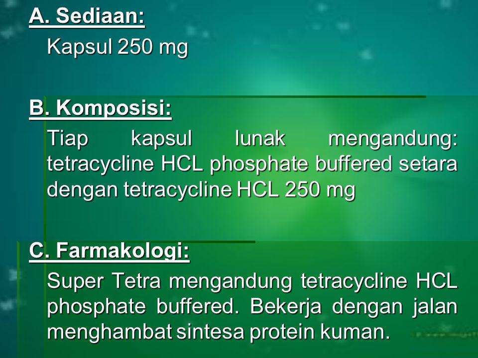 A. Sediaan: Kapsul 250 mg B. Komposisi: Tiap kapsul lunak mengandung: tetracycline HCL phosphate buffered setara dengan tetracycline HCL 250 mg C. Far