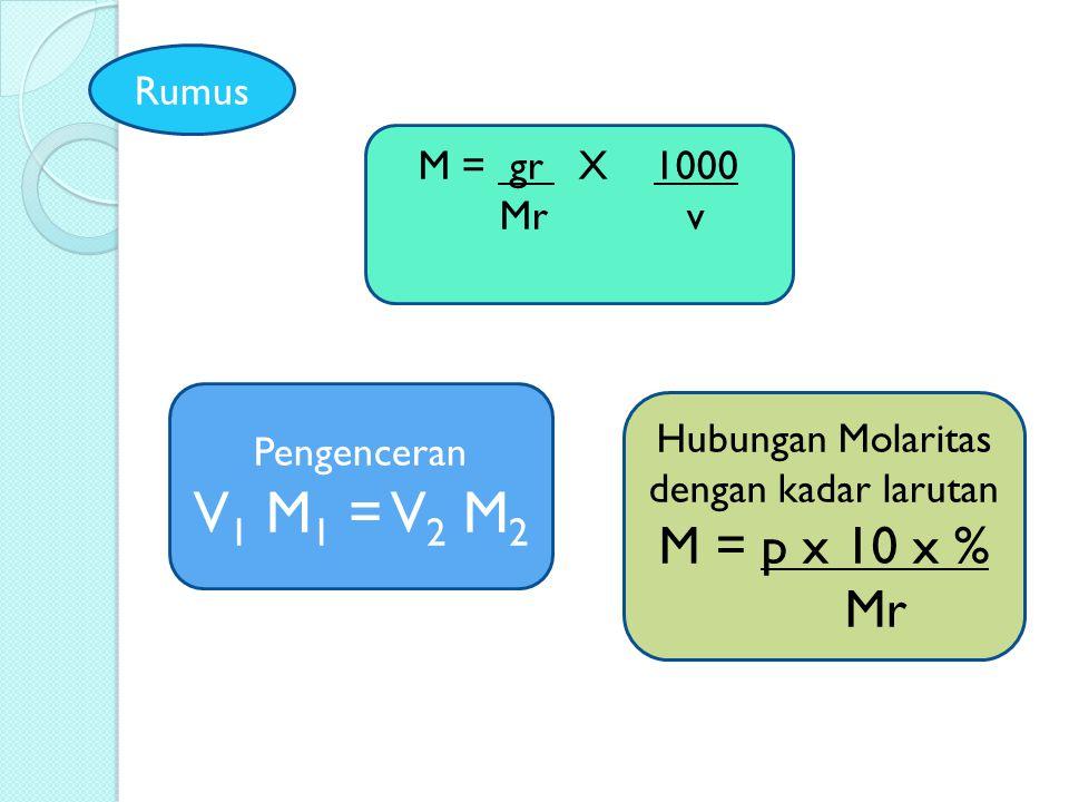 M = gr X 1000 Mr v Pengenceran V 1 M 1 = V 2 M 2 Hubungan Molaritas dengan kadar larutan M = p x 10 x % Mr Rumus