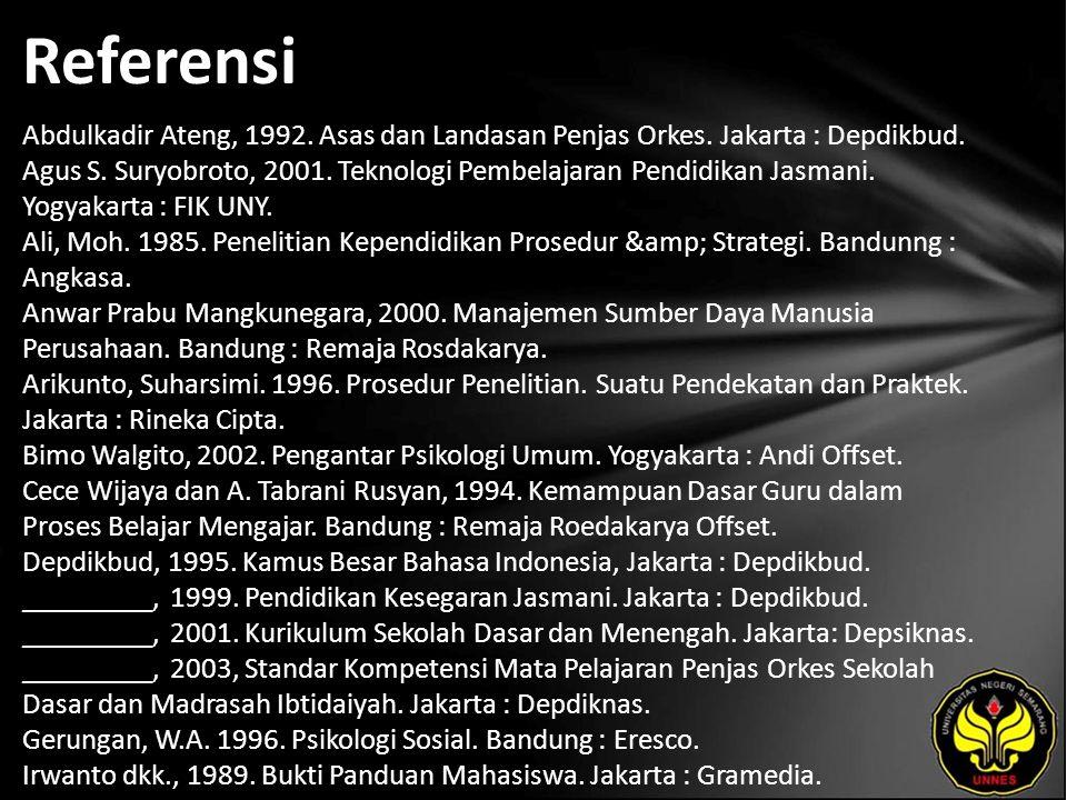 Referensi Abdulkadir Ateng, 1992. Asas dan Landasan Penjas Orkes. Jakarta : Depdikbud. Agus S. Suryobroto, 2001. Teknologi Pembelajaran Pendidikan Jas