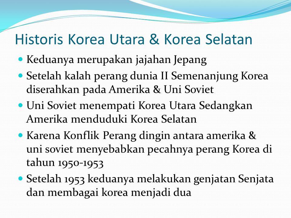 Historis Korea Utara & Korea Selatan Keduanya merupakan jajahan Jepang Setelah kalah perang dunia II Semenanjung Korea diserahkan pada Amerika & Uni Soviet Uni Soviet menempati Korea Utara Sedangkan Amerika menduduki Korea Selatan Karena Konflik Perang dingin antara amerika & uni soviet menyebabkan pecahnya perang Korea di tahun 1950-1953 Setelah 1953 keduanya melakukan genjatan Senjata dan membagai korea menjadi dua