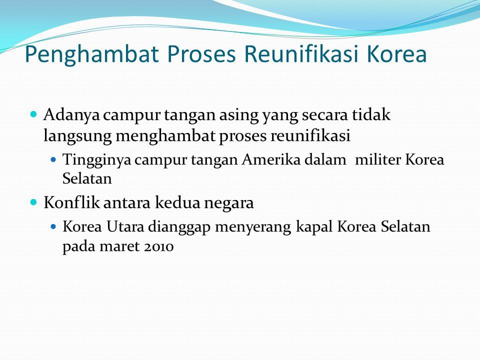 Penghambat Proses Reunifikasi Korea Adanya campur tangan asing yang secara tidak langsung menghambat proses reunifikasi Tingginya campur tangan Amerika dalam militer Korea Selatan Konflik antara kedua negara Korea Utara dianggap menyerang kapal Korea Selatan pada maret 2010